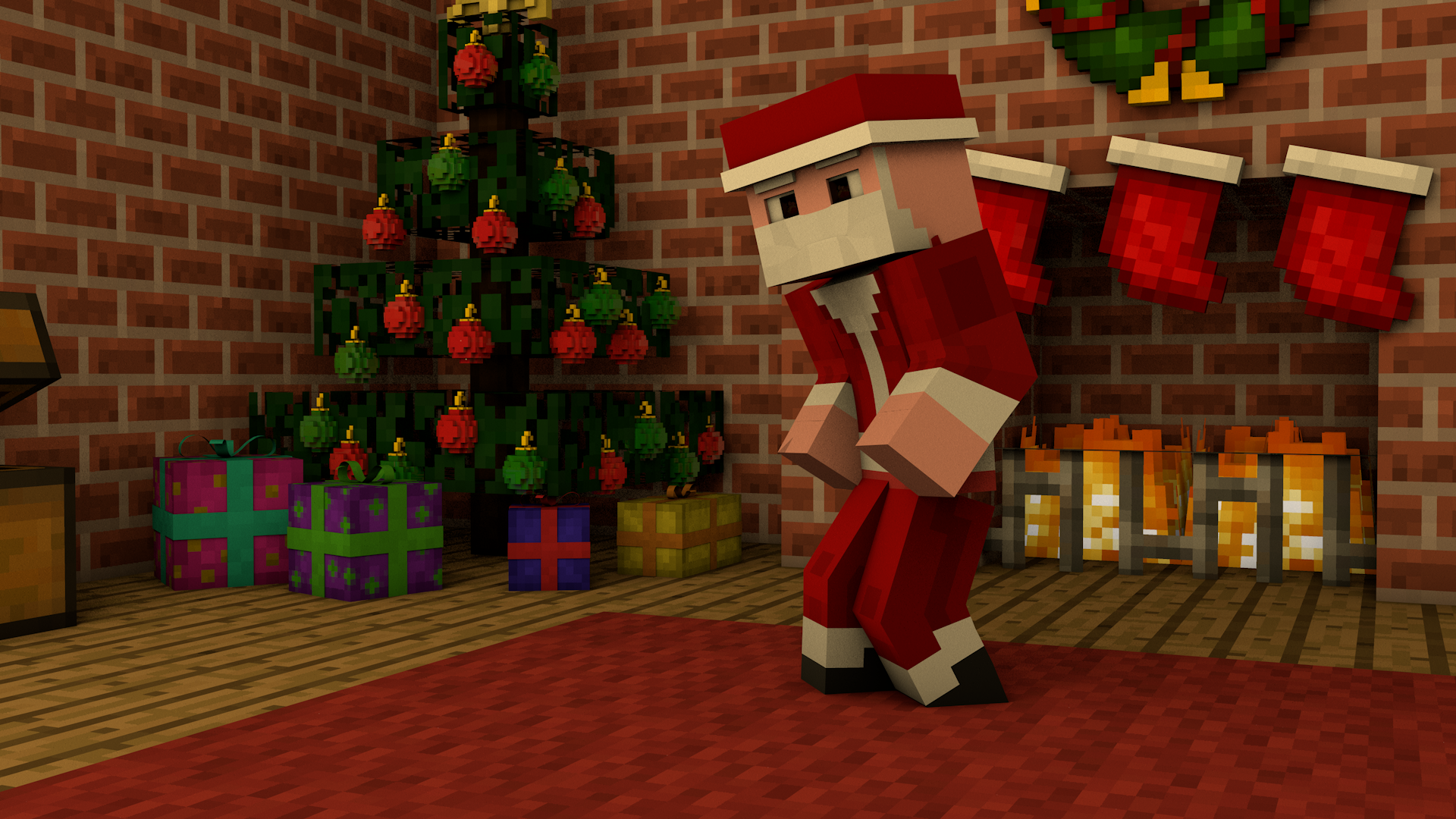Minecraft christmas wallpapers minecraftgames - Minecraft computer decoration ...