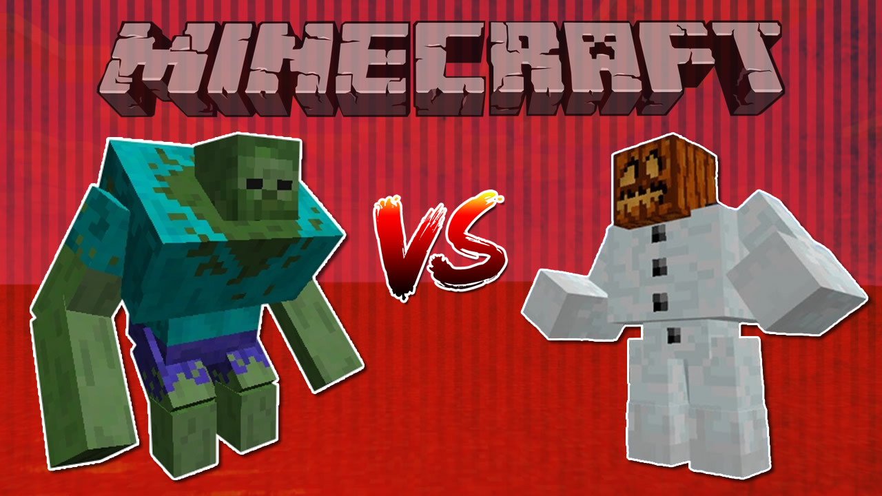 Minecraft Mutant Zombie vs Mutant Snow Golem Video