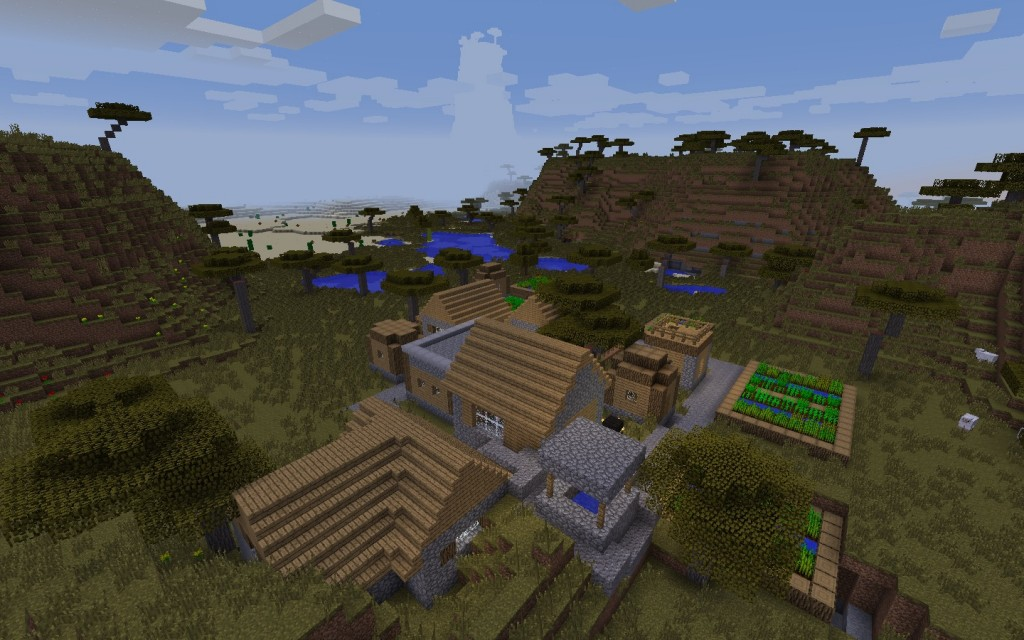 Desert Temple and Village Near the Jungle, Extreme Hill Mineraft 1.7.10/1.8.0 Seed
