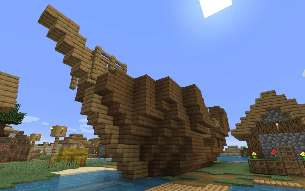 Sunken Ship in the Village Minecraft 1.14 Seed