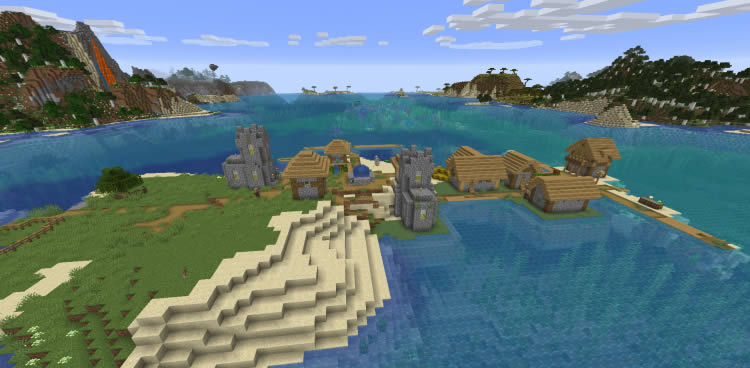 Village on Ocean Shore Seed for Minecraft 1.14.4/1.12.2