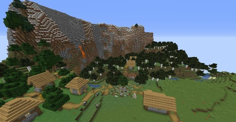 Pillager Outpost and 4 Villages Seed 1.14.4 Screenshot