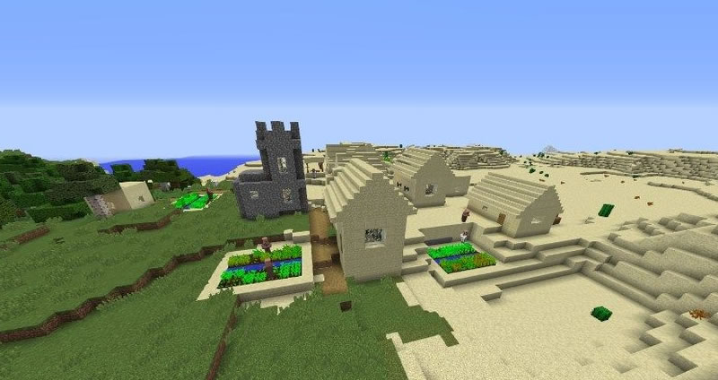 Village and Temple at Spawn Seed Screenshot 2