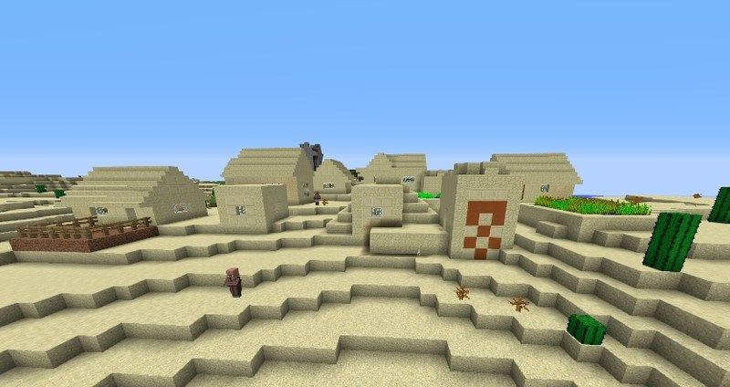 Village and Temple at Spawn for MinecraftSeed