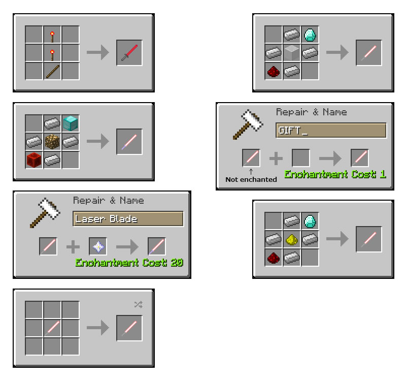 ToLaserBlade Mod Crafting Recipes