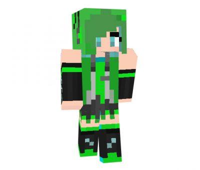 Green Hatsune Miku skin for Minecraft Girl