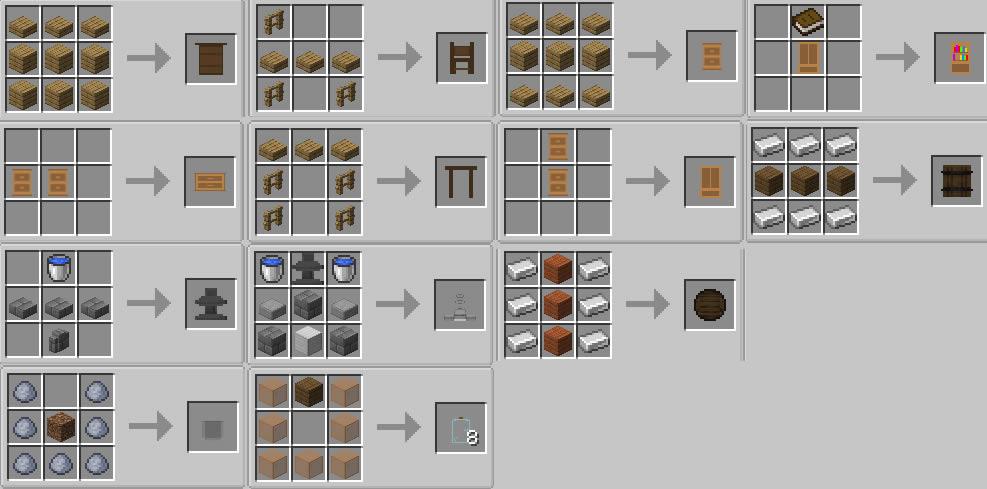 AlxFurniture Mod Crafting Recipes
